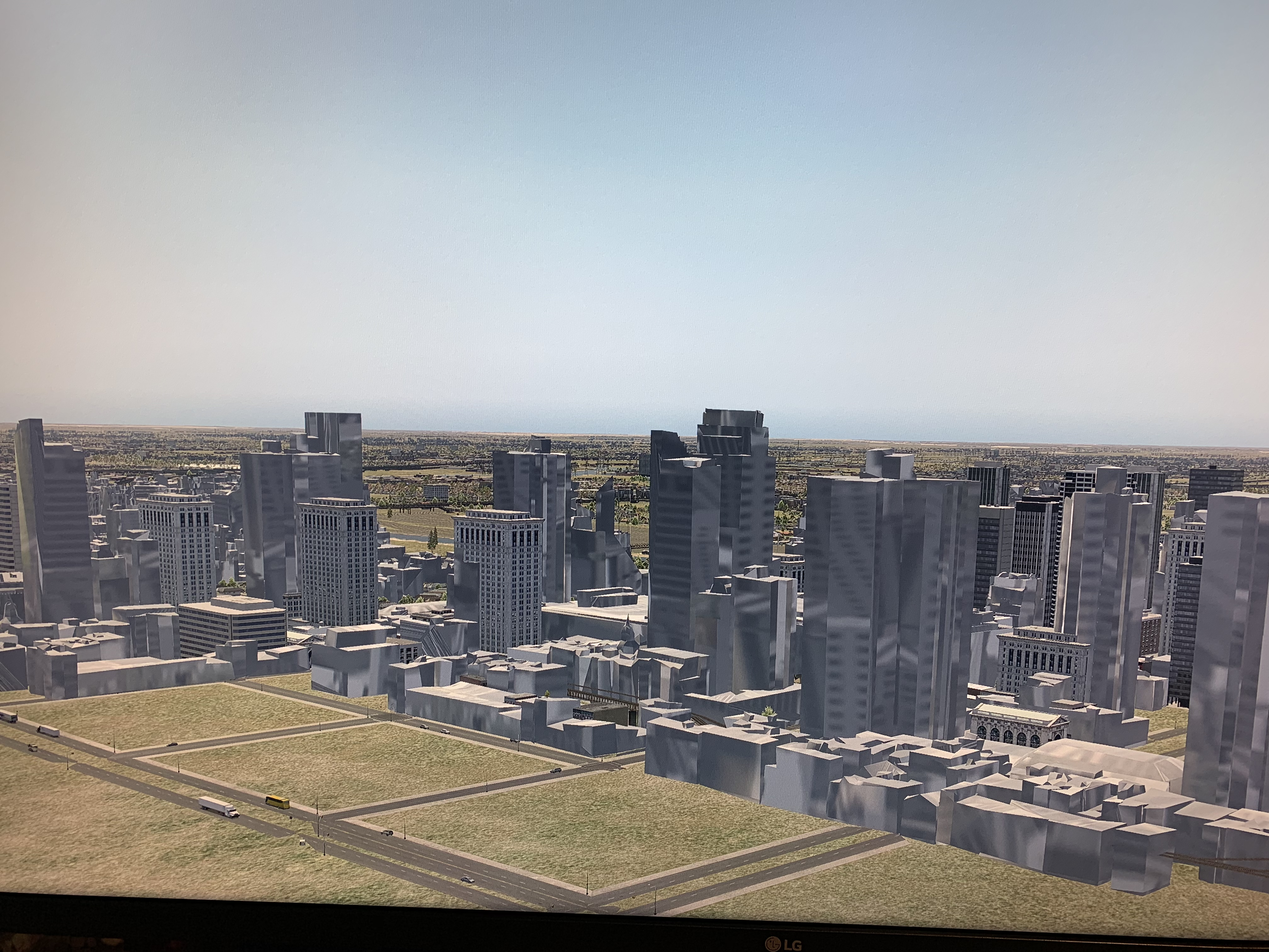 The scenery is coming up like this. I have tried doing the re installer. Removing plugins. Removing add ons. I have a lot of customer scenery so trying to avoid fresh install. It only happens with this city.