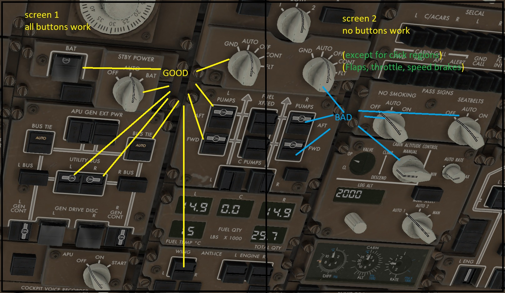 xplane mouse and touch does not click.
